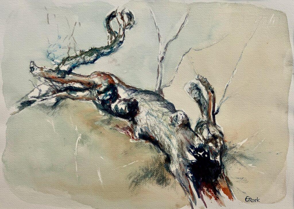 Træerne i æblealleen - Akvarel, 2020